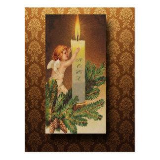 Carte Postale Noël victorien d'ange et de lueur d'une bougie