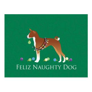Carte Postale Noël vilain de chien de Basenji Feliz