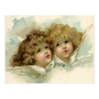 Carte Postale Noël vintage, anges victoriens dans les nuages