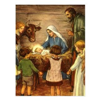 Carte Postale Noël vintage, bébé religieux Jésus de la nativité