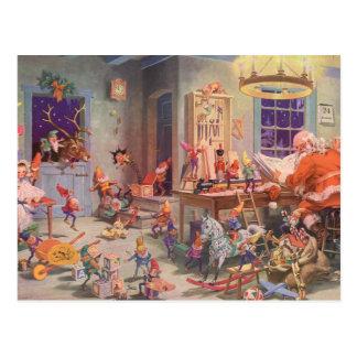 Carte Postale Noël vintage, le père noël avec l'atelier d'elfes