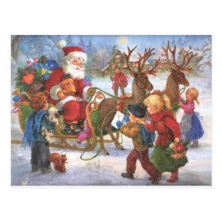 Carte Postale Noël vintage le père noël dans Sleigh