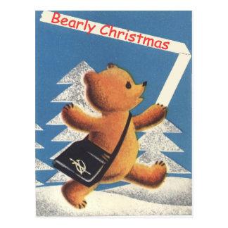 Carte Postale Noël vintage, nounours, bearly Noël