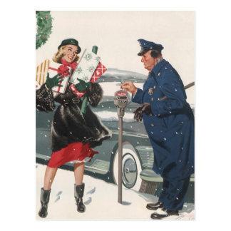 Carte Postale Noël vintage, policier de achat de présents