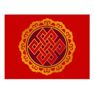 Carte Postale Noeud éternel de bouddhisme tibétain de karma