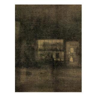 Carte Postale Noir de nocturne et or - le magasin de chiffon,