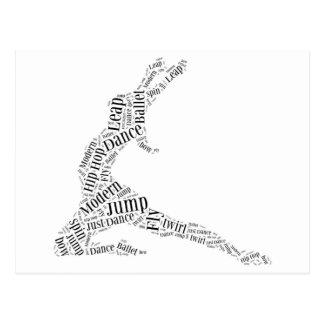 Carte Postale Noir et blanc de nuage de mot de danse