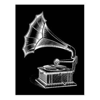 Carte Postale Noir musical vintage de tourne-disque de