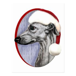 Carte Postale Noir Père Noël de Noël de whippet