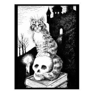 carte postale noire et blanche de chat du Maine de