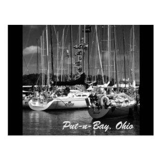 Carte postale noire et blanche de Mettre-n-Baie de