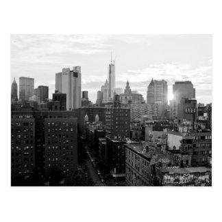 Carte postale noire et blanche de New York City