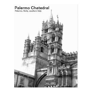 Carte postale noire et blanche de Palerme