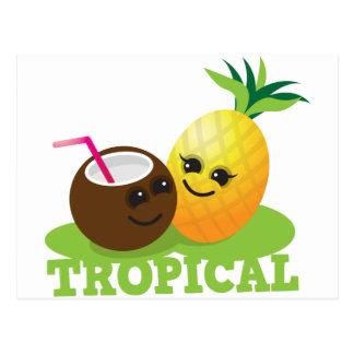 Carte Postale Noix de coco et ananas mignons TROPICAUX de Kawaii