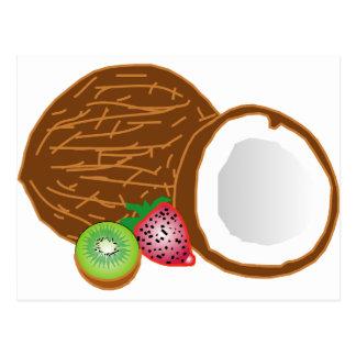 Carte Postale Noix de coco tropicales de kiwi