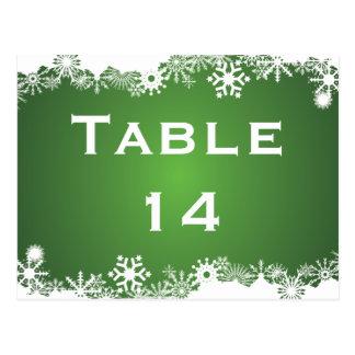 Carte Postale Nombre blanc vert de table de mariage d'hiver de
