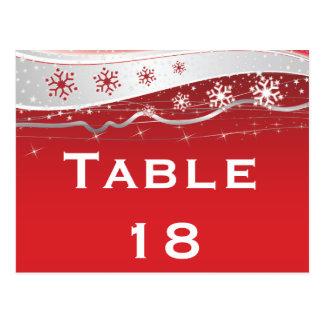 Carte Postale Nombre de table de mariage d'hiver de gris rouge