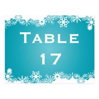 Carte Postale Nombre de table de mariage d'hiver de turquoise de