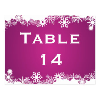 Carte Postale Nombre fuchsia de table de mariage d'hiver de