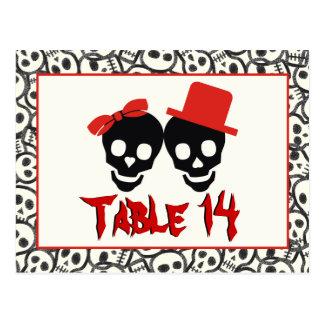 Carte Postale Nombre noir rouge de table de mariage de Halloween