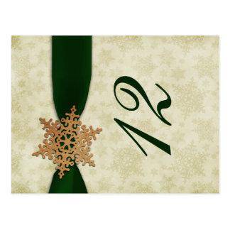 Carte Postale nombres verts de table de mariage d'hiver de