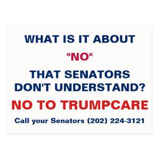 Carte Postale Non à l'appel de Trumpcare vos sénateurs