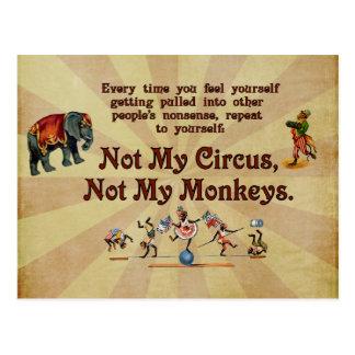 Carte Postale Non mes singes, non mon cirque