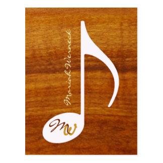 Carte Postale note faite sur commande de musique sur le bois