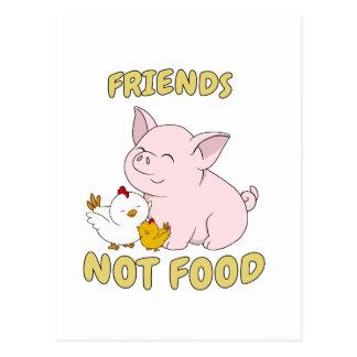 Carte Postale Nourriture d'amis pas - porc et poulet mignons