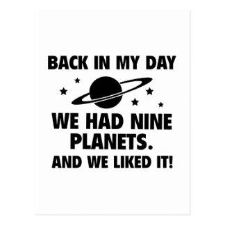 Carte Postale Nous avons eu neuf planètes