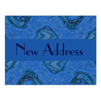 Carte Postale nouvelle adresse de motif bleu