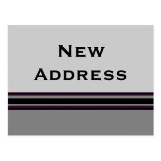 Carte Postale nouvelle adresse de rayures grises