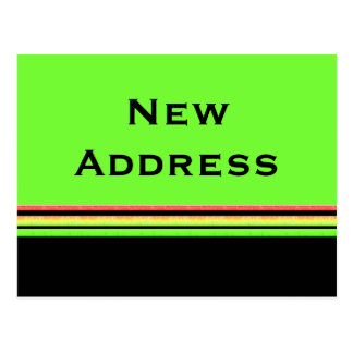 Carte Postale nouvelle adresse de rayures jaunes vertes