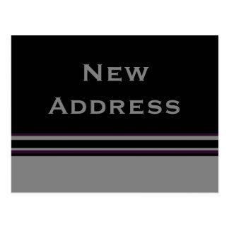 Carte Postale nouvelle adresse de rayures noires grises