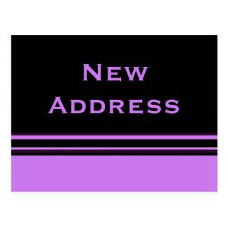 Carte Postale nouvelle adresse de rayures noires pourpres