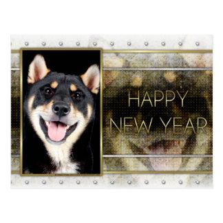 Carte Postale Nouvelles années - élégance d'or - Shiba Inu -