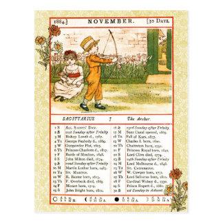 Carte Postale Novembre 1884 almanach.  Sagittaire, Archer