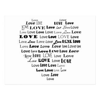 Carte Postale Nuage de mot de coeur d'amour - noir sur le blanc