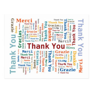 Carte Postale Nuage de mot de Merci dans 5 langues
