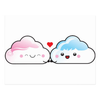 Carte Postale Nuages d'amour de Kawaii