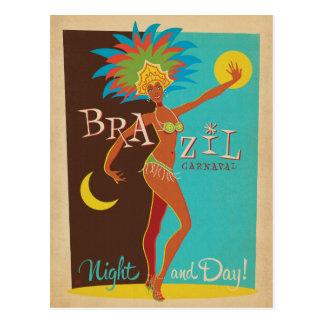 Carte Postale Nuit et jour du Brésil Carnaval | !