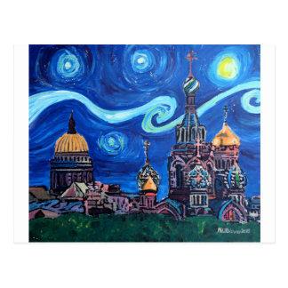 Carte Postale Nuit étoilée à St Petersburg Russie