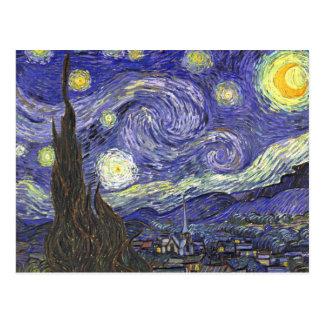 Carte Postale Nuit étoilée de Van Gogh, paysage vintage de
