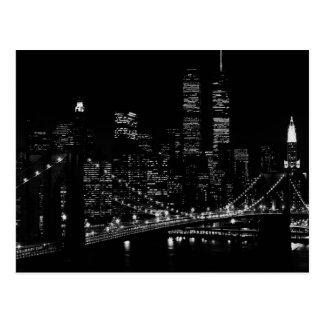 Carte Postale Nuit noire et blanche de New York City