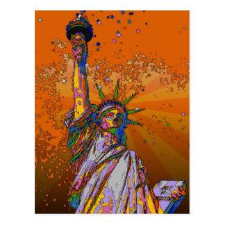 Carte Postale NYC psychédélique : Statue de la liberté 001