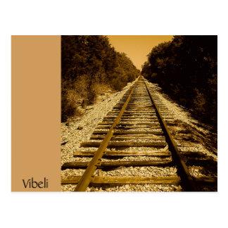 Carte postale occidentale sauvage de voie de train
