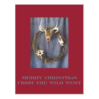 Carte postale occidentale sauvage morte de Noël de