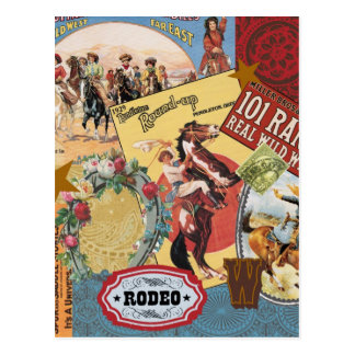 Carte postale occidentale vintage de cow-girl