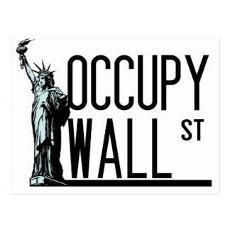 Carte Postale Occupez Wall Street - statue de la liberté