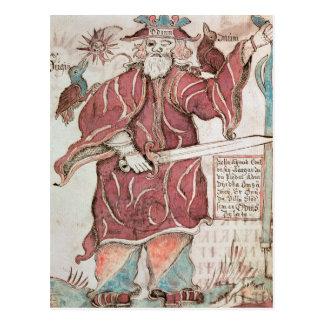Carte Postale Odin, avec ses deux corneilles, Hugin et Munin